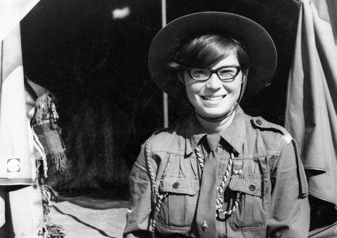 ANNO 1968: Bildet er fra en leir i Trysil. Haldis var da allerede en godt etablert speider, men hadde ennå ikke flyttet til Hakadal.