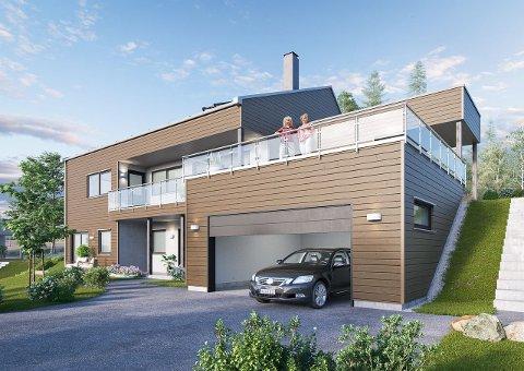 TIL SALGS: Dette er et illustrasjonsbilde av de tre boligene som fortsatt er til salgs. Boligen har stor terrasse, dobbelgarasje og utvendig bod. Sveip for å se flere bilder.