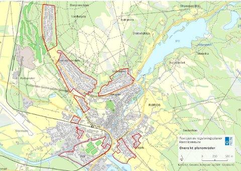 Ni områder: Det er disse ni sentrumsnære områdene som nå skal få nye reguleringsplaner. I disse områdene har det nå dukket opp ledige boligtomter.