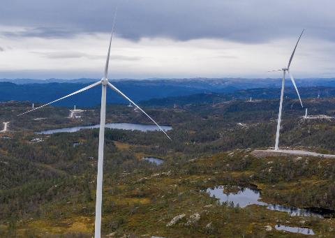 PRODUSERER: Noen få turbiner i Tonstad vindpark har begynt å produsere strøm. Snittproduksjon pr. turbin vil være ca 12 GWh per år.