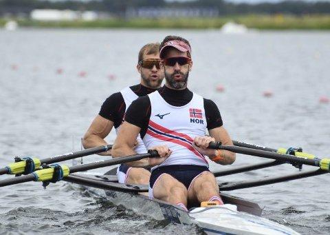 Bergenser Kristoffer Brun (bak) og makker Are Strandli ble nummer tre i Rotterdam.