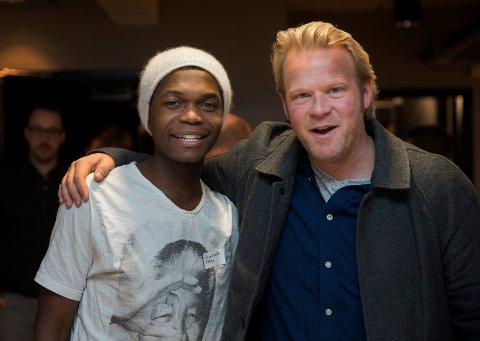 "Olivier Mukuta spilte mot blant andre Anders Baasmo Christiansen i filmen ""Welcome to Norway"""