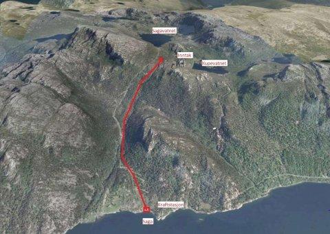 VASSKRAFT: Flora kommune vil bygge kraftverk i tilknytting til drikkevasskjelda i Sagavatnet.