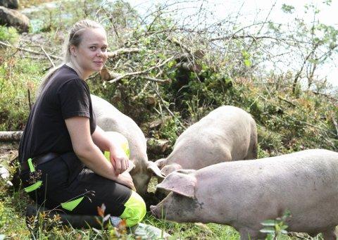 Elisabet Nordal driv med frilandsgris på foreldra sitt gardsbruk i Norddalsfjord.