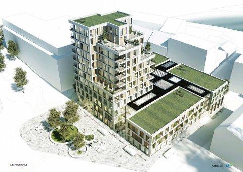 Et boligtårn preger planene for det nye kvartalet til Fredriksborg. Det høye boligtårnet er mot Quality hotell og Nygata. Parken i forkant erstatter dagens parkeringsplass.