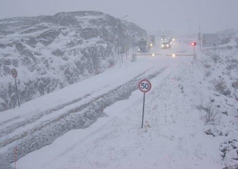 UVÆR: Slik så det ut på Bjørnfjell klokken 13.30.
