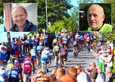 Klare for sykkelritt: 30 medlemmer fra Border Crossing Challenge skal dekke 24,5 kilometer med sykkelløype på søndag. Det setter Hans Herman Henriksen (venstre) pris på, og Finn Magne Simonsen forteller at han gleder seg til å bidra.