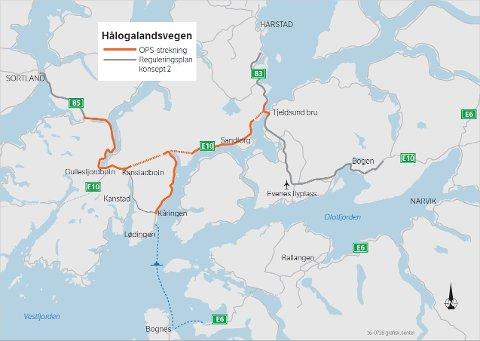 HÅLOGALANSVEGEN: Strekningen som skal bygges er markert i kartet med rød farge. Rød stiplet linjer markerer nye tunneler.
