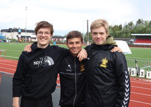 JUNIOR-NM-TRIO: Fra Narvik IL og klare for junior NM i friidrett: Odin Johan Widsteen, Ludvik Iver Bredvold Johnsen og Henrik Utheim Borgen