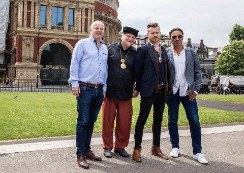 Sentrale personer i Norwegian Blues Adventure: fra venstre Endre Storholt (Koment), Knut Reiersrud, Amund Maarud og Eric Malling.