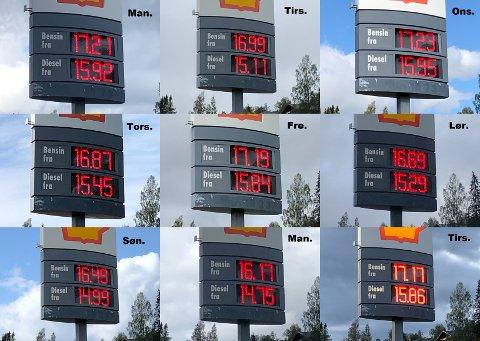 Drivstoffprisene ved bensinstasjonen Shell Røyslimoen på Lillehammer gjennom en drøy uke.