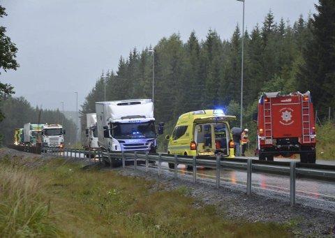 DØDE: Føreren av personbilen omkom i en kollisjon mellom lastebil og personbil på riksveg 4 mellom Harestua og Grua 2. september. Arkivfoto: Eivind Marcelino