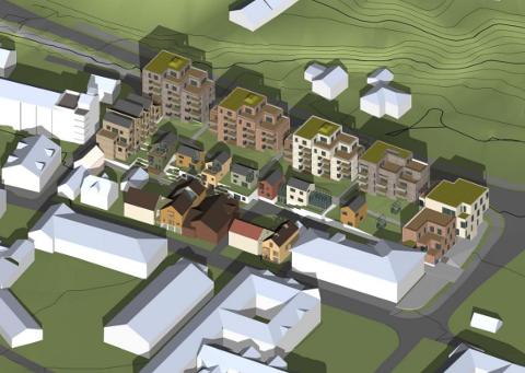 KAN BLI SLIK: Illustrasjon av planlagt bebyggelse i planområdet. Den høyeste blokka ligger langs Oslolinna i nord. Deretter trappes høyden ned mot sør.