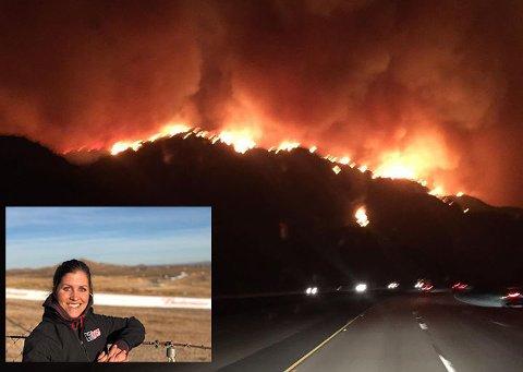 VOLDSOMT: Caroline (innfelt) tok et bilde av flammene rundt Ventura.