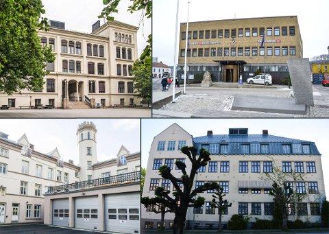 SENTRALE BYGNINGER: Rødsberg ungdomsskole (øverst til venstre), Sparebank 1 Østfold Akershus, gamle Halden brannstasjon (nederst til venstre) og Os skole er store murbygninger i Halden sentrum. Truls Lie har en klar mening om dem alle.