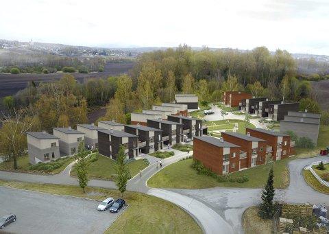 VED JORDET: Ti boliger skal bygges ved Børstadalléen. Dermed vokser byen østover. Illustrasjon: Boligpartner