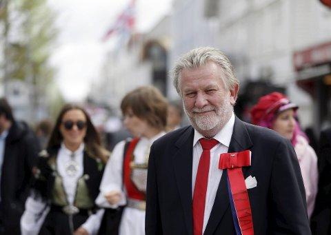 Klar stemme: Den tidligere NRK-profilen Hans-Wilhelm Steinfeld var hovedtaler under årets 17. maifeiring i Haugesund.                                                                     Foto: Grethe Nygaard