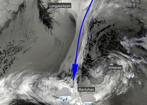 KULDA KOMMER: Flere steder i Finnmark ligger det an til mer nedbør og vind det neste døgnet.