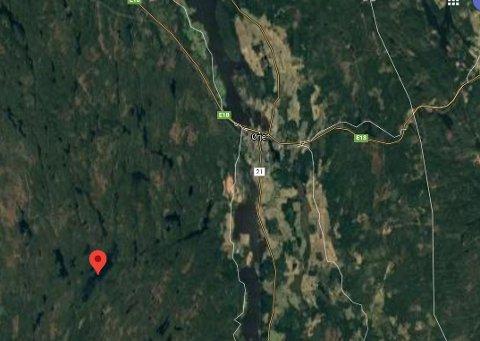 Ulovlig ulvejakt: Det er fra dette området ved Frønsessjøen som skuddene ble hørt.