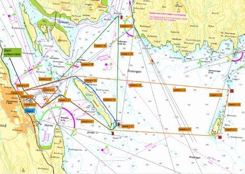 TRASEENE: Slik de er vist i kart over området.  Oransje rektangler viser planlagt plassering av vaktbåter.
