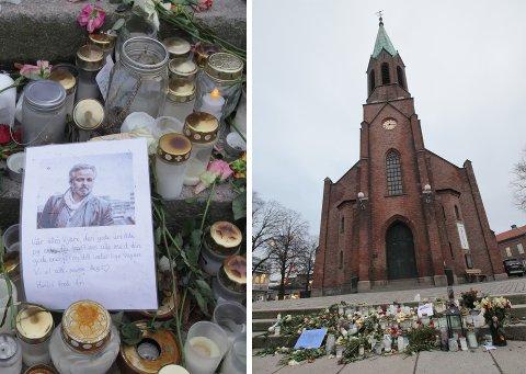 FÅR STÅ: Det midlertidige minnestedet etter Ari Behns bortgang får bli stående en stund til utenfor Moss kirke.