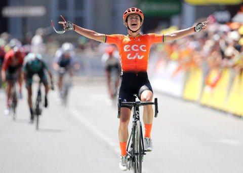 VIL HA: Politikerne i formannskapet vedtok at Moss kommune innvilger søknaden om å bruke 300.000 kroner på å få Ladies Tour of Norway til Moss. Bildet er fra fjorårets kvinneutgave av Tour de France i Pau, Frankrike. På bildet er Marianne Vos.