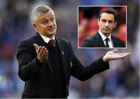 TIDLIGERE KLUBBKAMERATER: Gary Neville tror ikke sin tidligere lagkamerat i Manchester United, Ole Gunnar Solskjær, får sparken som manager med det første.