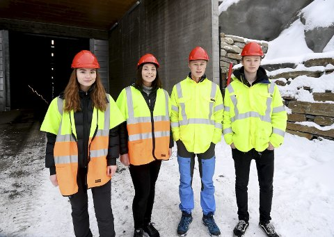 Elenergi-elevar: Eirin Resseth Bråten, Elise Åldstedt Løken, Martin Mathiesen og William Rustad besøkte Nedre Otta.