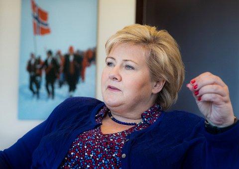 OSLO  20180509. Statsminister Erna Solberg (H) på statsministerens kontor. Foto: Berit Roald / NTB