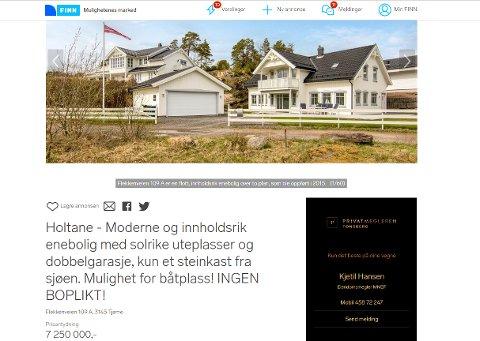 """""""Ingen boplikt"""": Slik annonseres bolighuset på Tjøme på finn.no. Den 200 kvadratmeter store eneboligen ligger sjønært i et område med flere hytter."""
