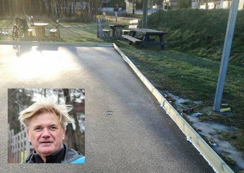 Maks Jensen (innfelt) på Tjøme vil lage kunstisbane på Haugsjordet og er godt i gang.