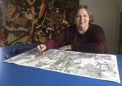 Festivalkunstner: Lotte Slotterøy (56) kommer til Smeltedigelen med blekktegninger som gjenspeiler virkeligheten slik hun oppfatter det.