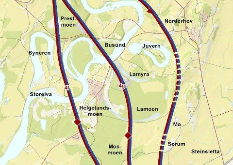 TRASÉVALGET: Jernbaneverket og Statens vegvesen anbefaler alternativ 4f, men 4g kan fortsatt bli valgt om Samferdselsdepartementet foretrekker det.Illustrasjon: JernbaneverkET/VegveSEN