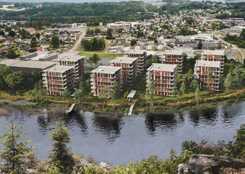 STRANDNAVN: Benterudstranda, ikke Benterudbredden, blir navnet på veien til det nye boligprosjektet Elveparken. Illustrasjon: Tronrud Eiendom