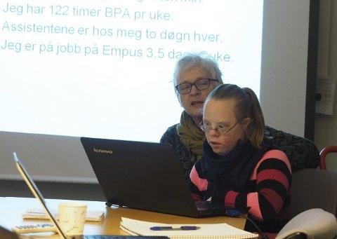 Fra tidligere: Kari Melbye og datteren Tine fortalte om sine erfaringer med BPA på et møte i Sande kommune mellom brukere og kommunen. Arklivfoto: Svein-Ivar Pedersen