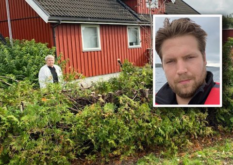 GOD HJELP: Marit Kristiansen fra Andebu ble både rystet og sjokkert da hun kom hjem til denne hekken etter en tannlegetime. Nå har Marius Frydenlund Nilsen ordnet opp.
