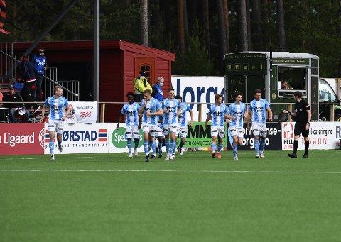 Sandnes Ulf jubler etter den rekordtidlige scoringen.