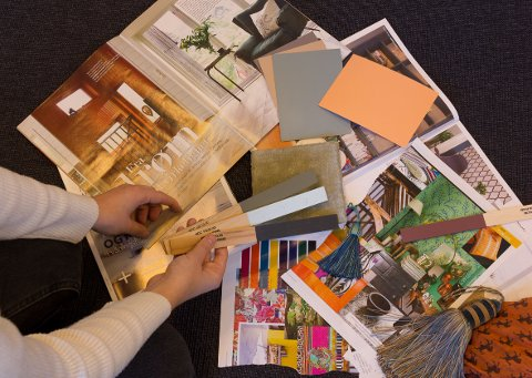 Samle bilder, farger, tekstiler og elementer som inspirerer deg.