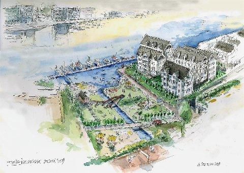 KANALPARKEN: Slik ser arkitekt Sigmund Sontum og utbygger Ole Johan Olsen for seg at «Kanalparken» kan bli seende ut om noen år.