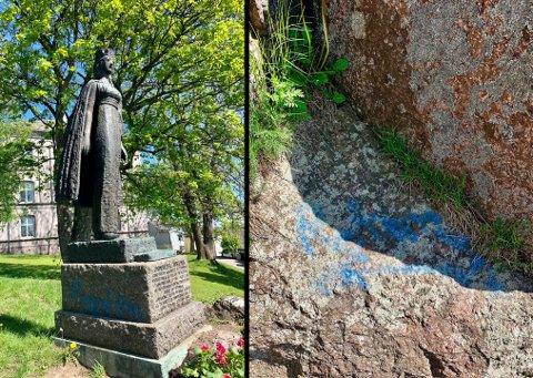 ØDELEGGER MYE: Øyvind Myhre i Tønsberg Bydrift synes det er veldig kjedelig at noen ødelegger statuen og andre steder rundt Slottsfjellet.