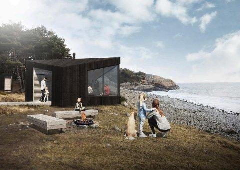 Slik har arkitektfirmaet Feste Sør AS tegnet dagsturhytta som skal bygges i alle Agder-kommunene som blir med på prosjektet. I denne montasjen er hytta plassert ved sjøen, men den kan f.eks. bygges på et populært utsiktstomt i skogen. Illustrasjon. Feste Sør.