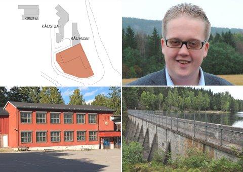 MÅSNARTVELGEVEKK:Collage med tegning av helsehus i rådhuskvartalet, fungerende varaordfører Helge Fossum (Frp), Rotnes skole og Høldippeldammen.