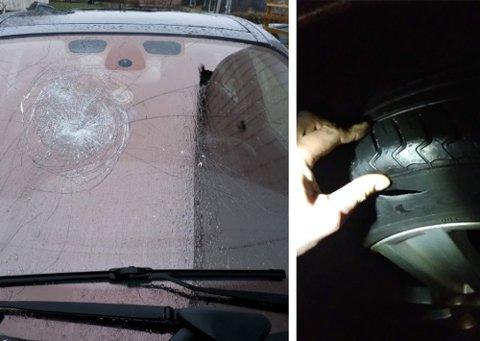 ETTERFORSKES: Politiet er koblet inn etter at bilen ble funnet med knust frontrute og punkterte dekk.