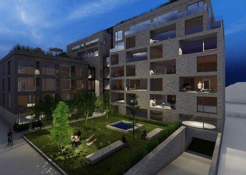 SLIK KAN DET BLI: I den nye planen går utbygger en etasje ned og bytter massivtre med teglstein.