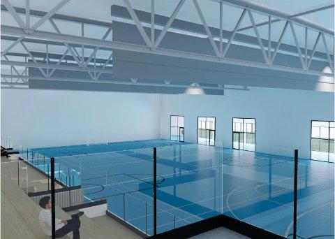"""NY STORSTUE: Idretten i Ås vært aktivt med å utforme ønskene for den nye flerbrukshallen som skal bygges vegg i vegg med Åshallen. Prosjektet skal gi en ny """"storstue"""" for idretten i Ås. Bildet viser en skisse av den store salen i hallen, slik entreprenøren Metacon AS ser det for seg."""