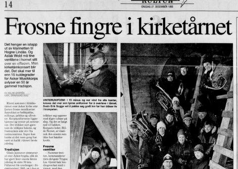 DESEMBER 1995: Budstikka omtalte den kalde kirketårn-konserten.