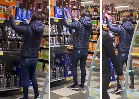TOK PÅ VARER: Personen i butikken tok på flere varer for å tilsynelatende skanne dem.