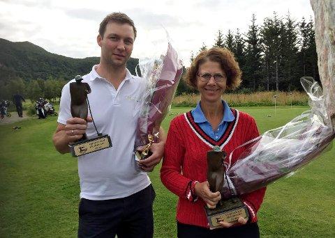 Årets klubbmestere i Salten golfklubb: Henrik Sand Dagfinrud og Heather Hebbert.