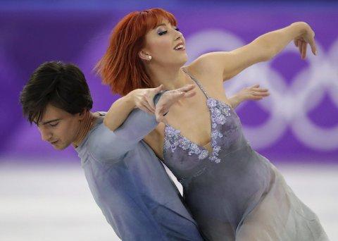 Tiffany Zahorski og hennes makker Jonathan Guerreiro tok en 13.-plass i isdans. (Foto: NTB scanpix/AP)