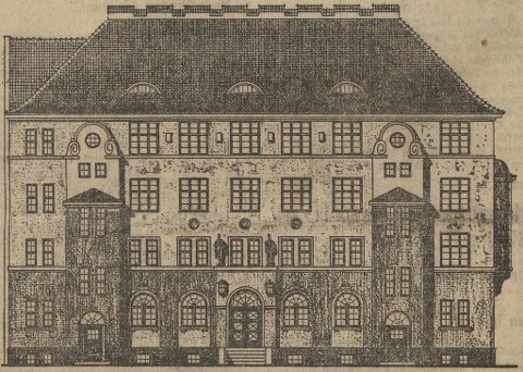 Sånn skulle Bergen Svømme Clubs symjehall på Møhlenpris sett ut ifølge arkitekt Henrik Halding. Ideala hans låg i Berlin der han budde og arbeidde tidlegare.